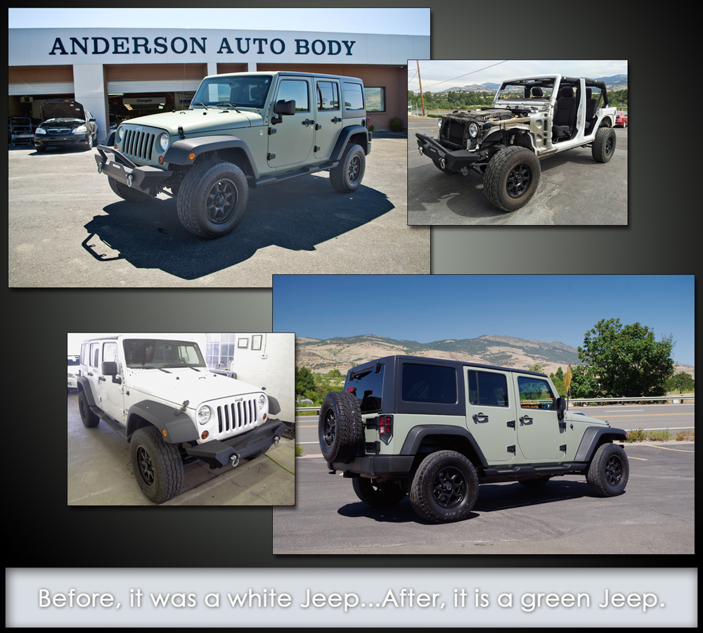 A collage of a the before and after of a Jeep we painted.